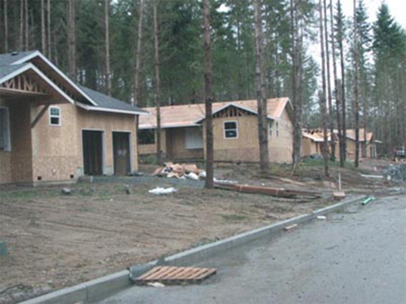 Tulalip Housing and Construction Mission Highlands row of homes under construction, neighborhood developing.
