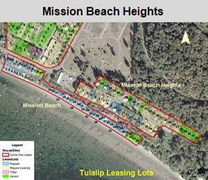 Tulalip Housing Department leasing map of lots for Mission Beach Heights