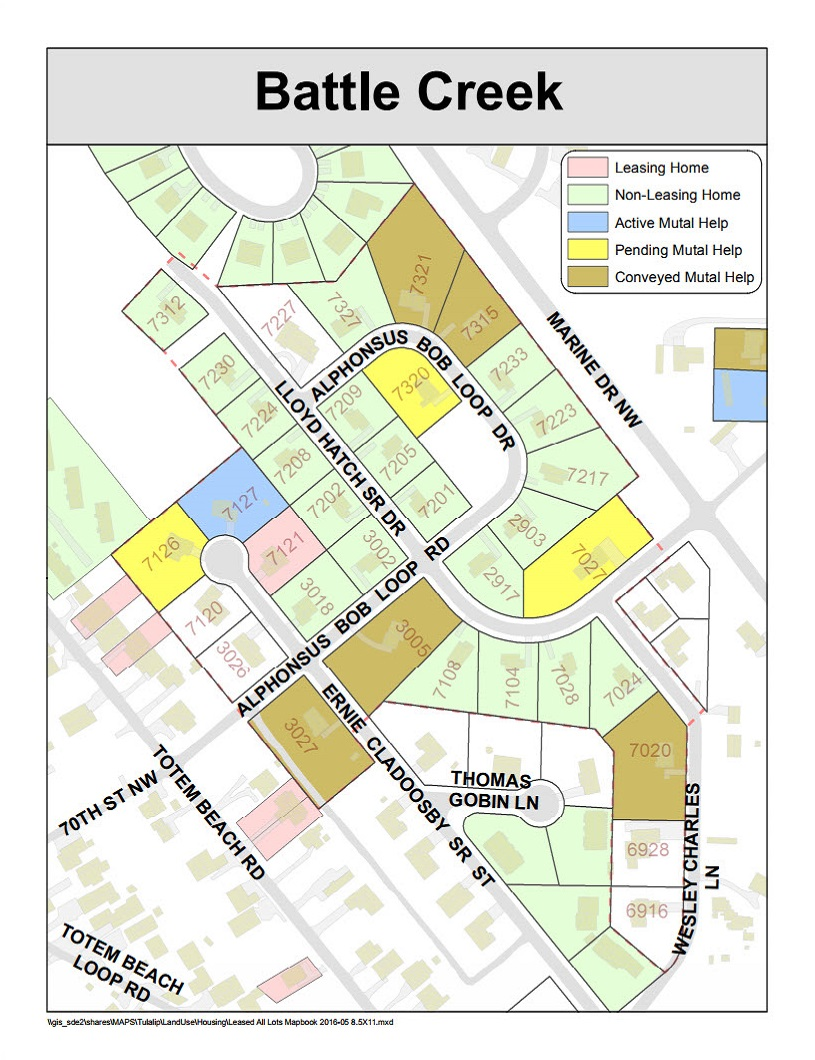 Tulalip Housing Tenant Services Map of Battle Creek