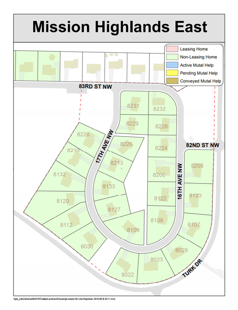 Tulalip Housing Tenants Services map of Mission Highlands East