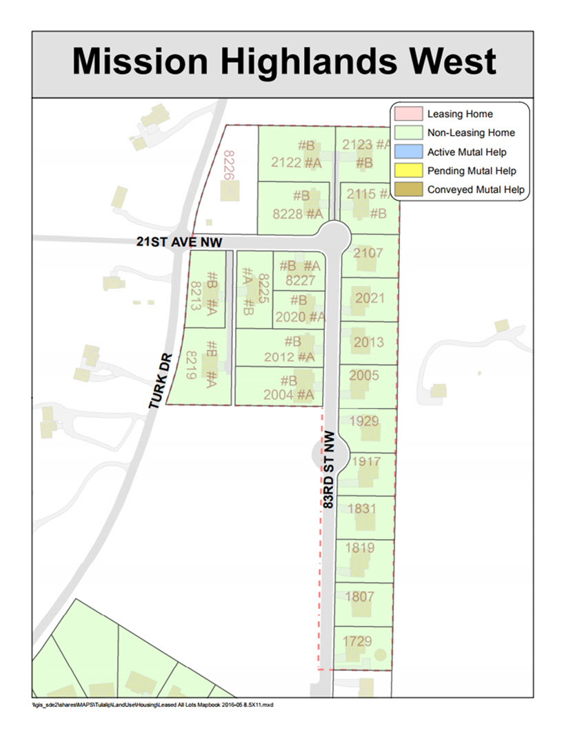 Tulalip Housing Tenant Services map of Mission Highlands West