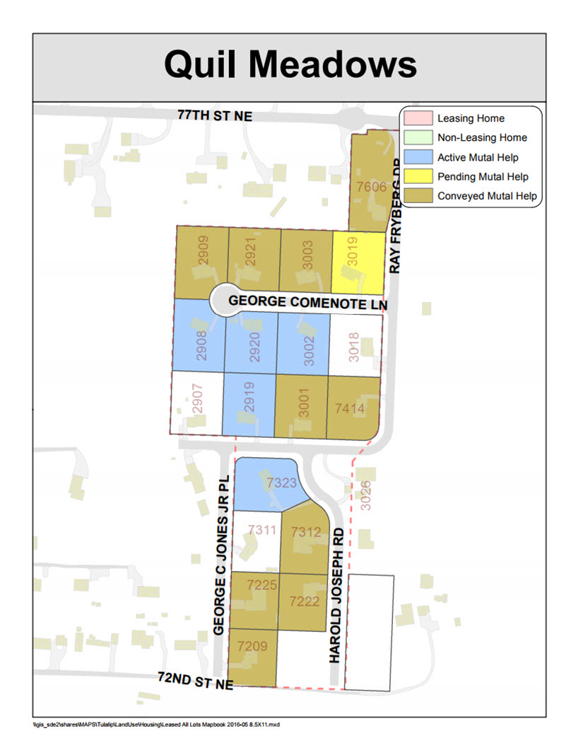 Tulalip Housing Tenants Services map of Quil Meadows