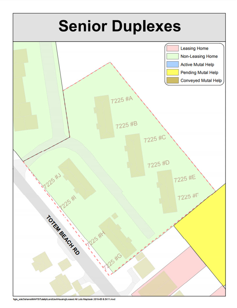 Tulalip Housing Tenant Services map of Senior Duplexes