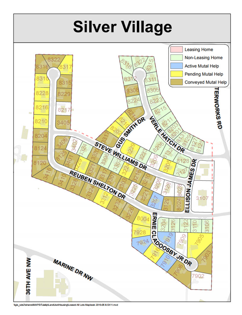 Tulalip Housing Tenent Services map of Silver Village