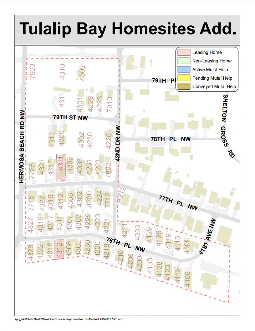 Tulalip Housing Tenant Services map of Tulalip Bay Homesites addition
